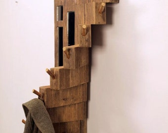 driftwood coat rack // water well board hanger // stair style