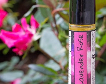 Lavender Rose Natural Perfume Oil - Aromatherapy Essential Oil Roll On Lavender Natural Perfume