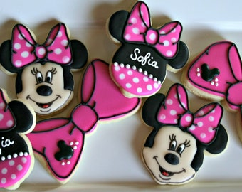 Minnie Mouse Cookies-Minnie Mouse Birthday Cookies, Minnie Mouse Baby Shower Cookies