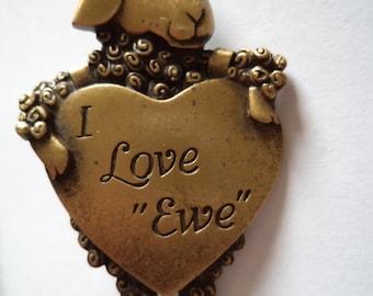 Vintage Signed JJ  Bronze pewter Sheep I Love Ewe Brooch/Pin