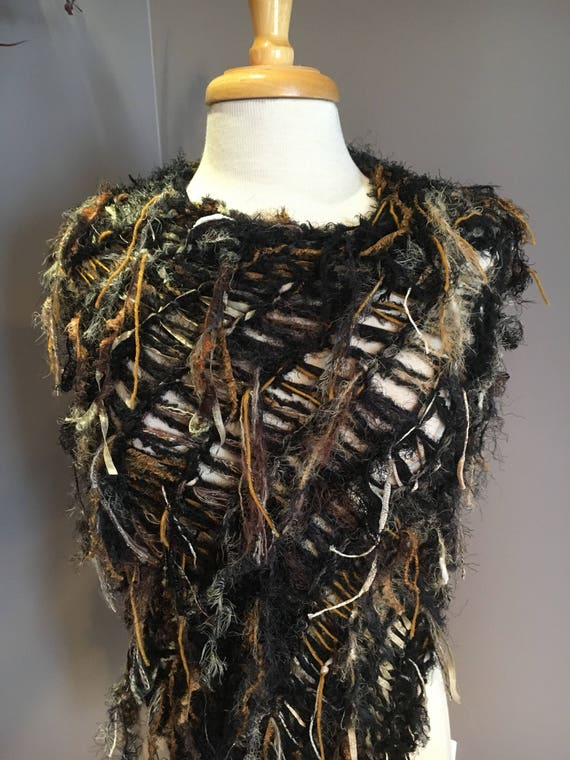 Hand knit funky poncho or wrap, Dumpster Diva 'Lunar Eclipse', Fringed Poncho, Huntress, Knit Poncho, black mustard tan, bohochic, couture