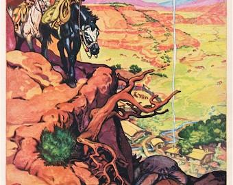 wild west print, views of the American southwest, 1940's era, printable vintage digital image no. 989