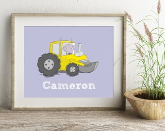 Dinosaur Poster, Tractor Picture, Dinosaur Drawing, Children's Wall Art, Personalised art, Nursery Wall Art, Nursery decor, Kid's Poster