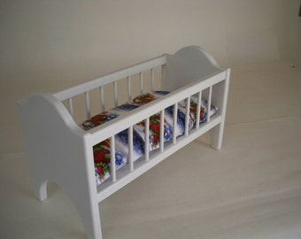 Classic Doll Bed, Doll Crib, American Doll bed, Wood Doll Crib,Wood Doll Bed,Doll Furniture, Hand Made Doll Bed