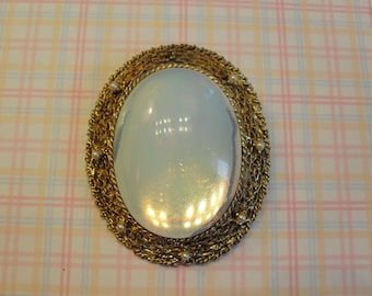 Vintage Mirror Brooch and Pendant Glass Cabachon Convex Oval