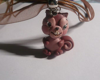 Pinkish brown, beige and black polymer clay pendant pet necklace