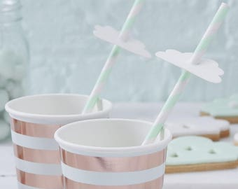 Stripe Cloud Paper Party Straws, Hello World, Baby Shower, Gender Reveal Decor, New Arrival, Party Straws, Paper Straws, mint green straws