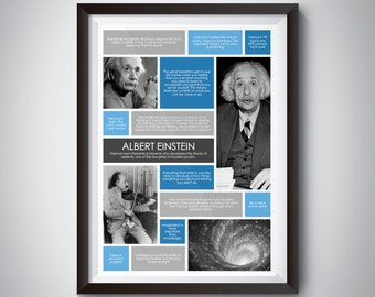 Albert Einstein Quote Wall Art; Digital Download; inspirational quote poster for motivation and success