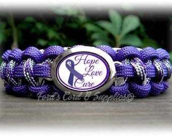 Alzheimer's Awareness Bracelet, Paracord Bracelet, Survival Bracelet, Women's Bracelet, Ladies Bracelet, Girl's Bracelet, Support Bracelet