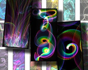 PRISM, Multicolor swirls on Black - Digital Collage Sheet - Dominos 1x2 inch or Bamboo size - Buy 3 Get 1 Extra Free