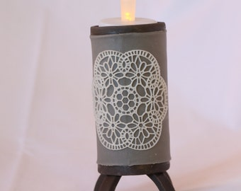 "Candlestick ""lace"" porcelain cold saeljana. Led or wax candle."
