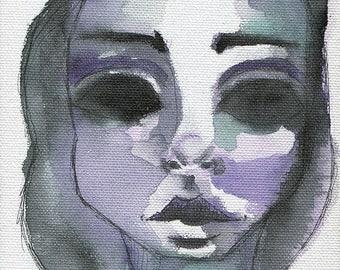 Natasha On Canvas- Mixed Media Giclee Art Print by Amber Button