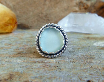 beach glass and sterling silver ring // Size 6 // Sterling silver jewelry