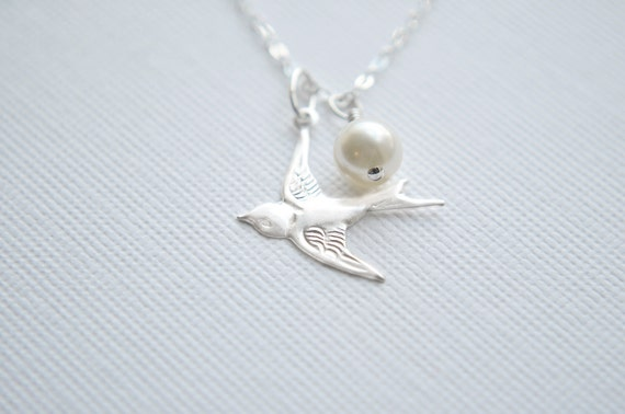 Silver Bird Necklace | Sterling Silver Charm Necklace | Sparrow Flying West | Swarovski Pearl | Whimsical Nature Inspired Jewelry