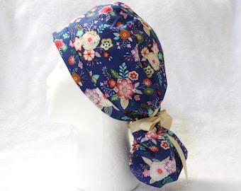 Ponytail Scrub Hat, Scrub Hat, Scrub cap, OR Hat, Surgical Scrub Cap, Blue, Floral, Modern Floral