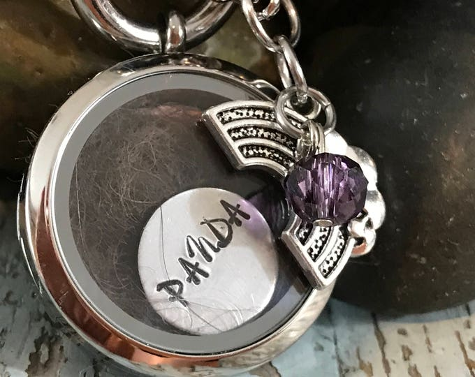 Rainbow bridge add a lock of fur DIY picture locket with name and birthstone/rainbow charm