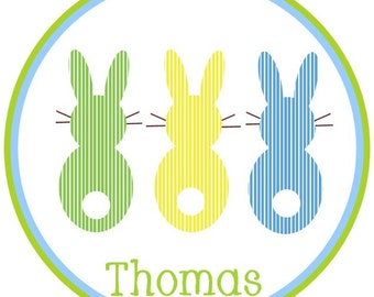 Springy Stripes Bright and Happy Bunny and his friends Iron On