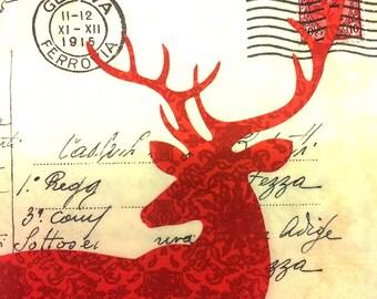 Paper towel postcard red deer - ecru