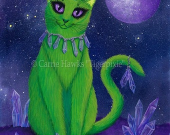 Alien Cat Art Cat Painting  Space Cat Green Alien Cat Purple Crystals Fantasy Cat Art Print 12x16 Cat Lovers Art