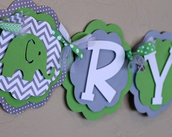 Elephant Chevron Stripe Polka Dot Gender Neutral Its a Boy or Girl or Name Banner Lime Green Gray Baby Shower or Birthday Party Decorations