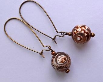 DZI earrings Banded Agate tibetan style semi-precious stone on Bronze Dangling Earrings long earrings wire wrapped earrings faceted agate