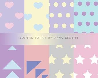 Pastel Paper digital, Colourful  paper, Digital Background, digital paper, 8 JPG, Instant Download, Commercial Use