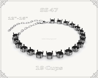 1 pc.+ 19 Cups, SS47 Empty Cup Chain for Necklace - Antique Silver Color