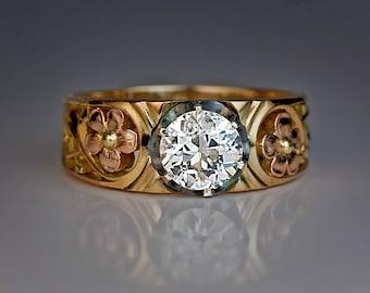 Art Nouveau 1.22 ct Diamond Gold Openwork Antique Men's Ring