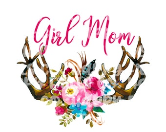 floral girl mom with antlers png instant download, mama Design/ designs sublimation