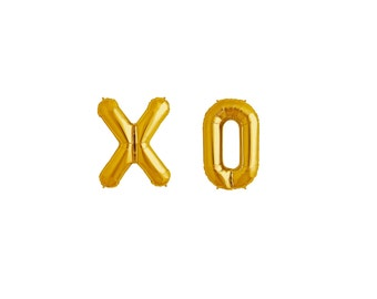 """34"""" Giant Gold XO Balloons, Engagement Photo Prop, Wedding Prop, Save The Date Photo Prop, 1st Birthday, Thank You Photo, Letter Balloons"""