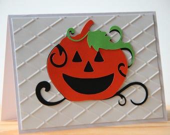Pumpkin Halloween Card. Handmade Pumpkin Card. Blank Halloween Card. Happy Halloween Card. Embossed Fall Card. Jack O Lantern Card