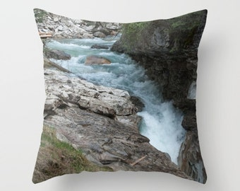 Waterfall Rock Pillow Cover, Turquoise Sofa Decor, Rustic Lodge Chair Accent, Earthy Couch Throw Cushion Case, Lake House Art Decoration