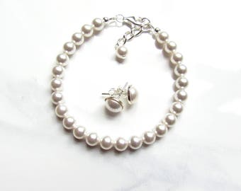 Pearl Bracelet & Earring Set, Bracelet Set, Bridesmaids Pearl Set, Bracelet Pearl, Pearl Stud Earrings, Bridesmaid Gifts, Bridal Party Gifts