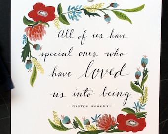 Mr. Rogers Quote with Floral Detail Print