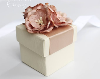 Elegant Ivory/Cream and Dusty Brown/Beige Flowers Favor/Favour Box for Wedding/Party