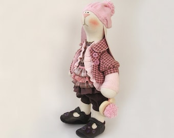 "Beata Artist Cloth Bunny Vintage Styled Pink beige OOAK doll Stuffed dolls Creamy Soft Toy Fabric Rabbit Home Decor heart boho Pink 19"" 48cm"