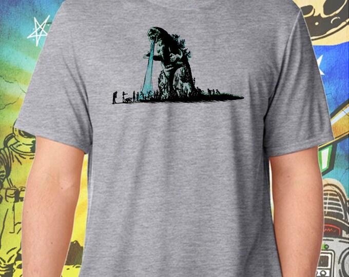 Godzilla Hates The Walking Dead / Men's Zombie Gray Performance T-Shirt
