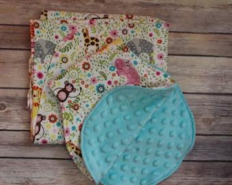 Receiving Blanket/Swaddling Blanket/Burp Cloth-Cotton Flannel,White,Gray,Pink,Aqua,Green,Yellow-Elephants,Lions, Hippos, Monkeys-Girl Gender
