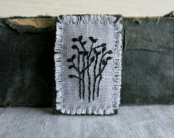 Linen Embroidered Brooch - Black Trees on Gray Linen Hand Embroidered Brooch - Under 40 - Nature Gift