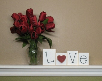 LOVE BLOCK SET for home, shelf, desk, mantle and valentine decor