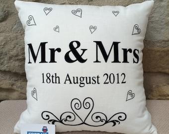 Freda's Barn designed Personalised Mr & Mrs Wedding cushion,