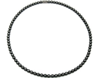 6mm Hematite Magnetic Therapy Necklace with Magnetic Clasp,  Therapeutic Magnetic Necklace for Men and Women #MHN-124