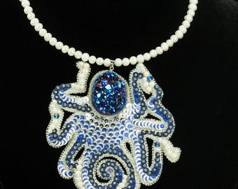 Octopus Necklace Octopus Jewelry Blue Necklace Big Stone Jewelry Kraken Necklace Tentacle Necklace Blue Octopus Octopus Pendant Blue Jewelry