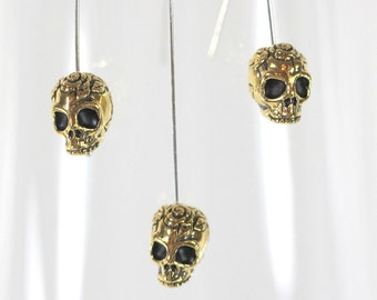 TierraCast Skull Beads, Gold Skull Beads, Gold Jewelry Findings, Gold Plated Lead Free Pewter, 4 Pieces, 8526