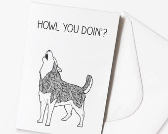 "Funny Husky Dog Pun Card - ""Howl you doin'"""