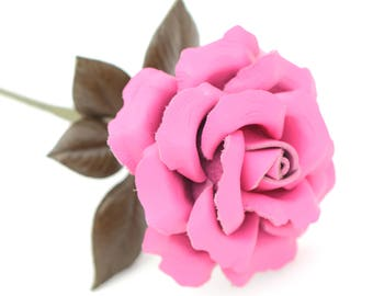 Leather rose hot pink long stem leather flower third anniversary wedding gift 3rd anniversary leather anniversary bouquet
