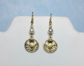 Outlander Sassenach Earrings~Thistle Pearl Earrings-GOLD-Celtic jewelry-Scottish jewelry-Outlander Inspired-Celtic-Irish-Scottish-thistle