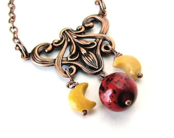 Art Nouveau Planet Necklace Mars