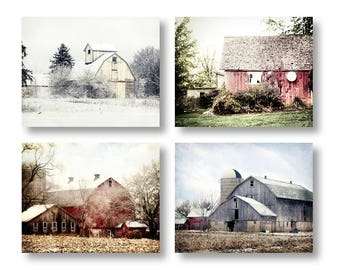 Rustic Barn Photographs set of 4 - 20% Off - country barn print set, red barn, white barn, coordinated photo collection, rustic home decor
