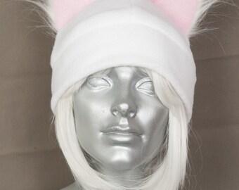 Furry Ear White Hat